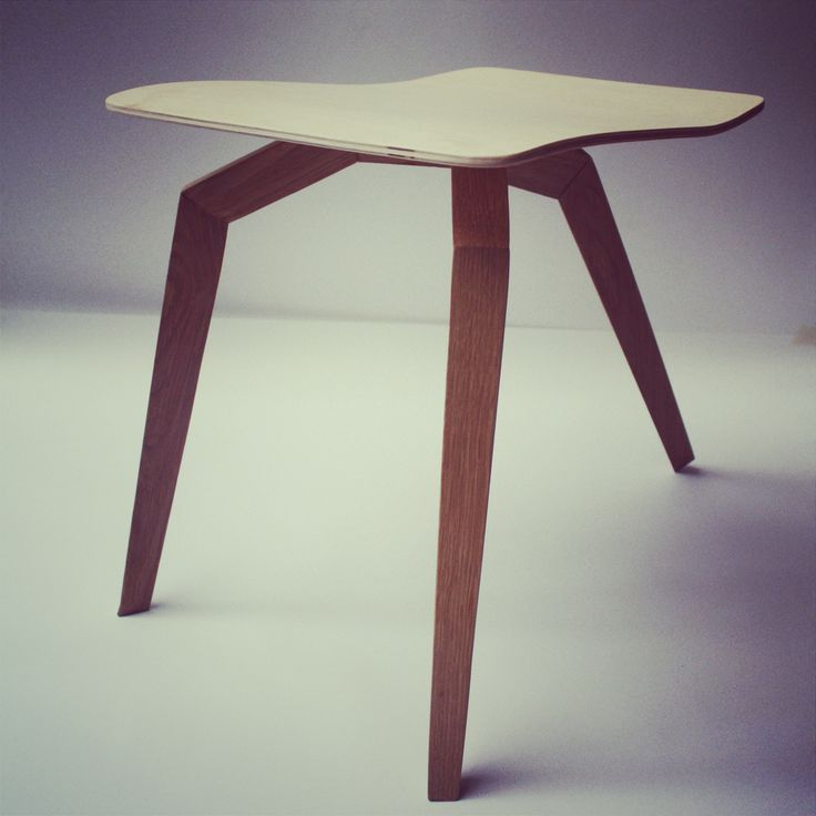 """Angle"" stool. Made of birch and oak."