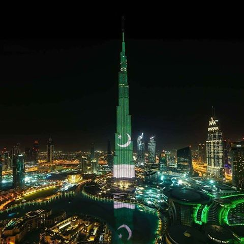 World's top building, the Burj Khalifa of Dubai will today lit up in Pakistani flag to celebrate 77th Pakistan Day, Tonight we celebrate Pakistan's 77th Republic Day with a spectacular LED illumina…