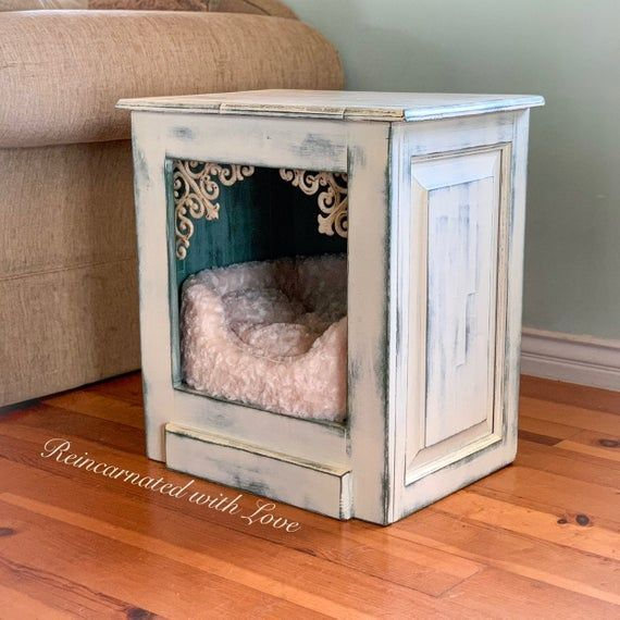 Bed Cat Cave Chic Dog Farmhouse Furniture House Nightstand Pet Shabby Side T In 2020 Repurposed Furniture Diy Shabby Chic Decor Bedroom Upcycled Furniture