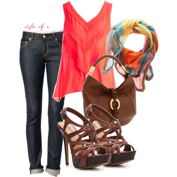 Hot Orange, created by styleofe on Polyvore: Hot Shoes, Jeans Heels, Fashion Style, Cute Spring Outfits, Hot Orange, Fall Outfits, Jeans And Healing Outfits, Style Clothing, Bright Colors