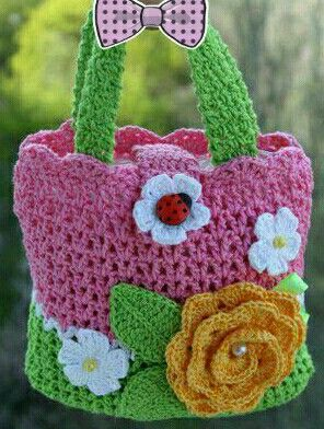 Flower n ladybug crochet bag