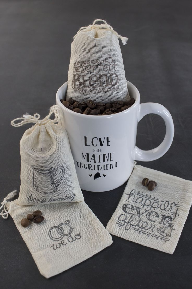 Custom coffee mug favors except with hot chocolate