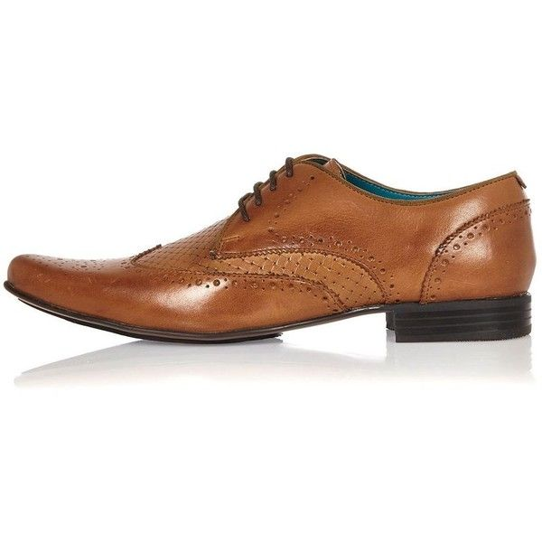 River Island Brown leather woven formal shoes ($65) ❤ liked on Polyvore featuring men's fashion, men's shoes, men's dress shoes, brown, shoes, mens brown dress shoes, mens brown leather shoes, mens formal dress shoes, mens patent leather formal shoes and mens leather lace up shoes