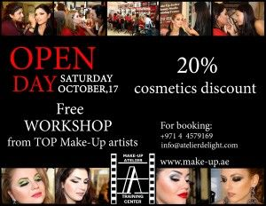 YOU ARE ALL INVITED!!!                               Make-up Atelier Training  Center is very glad to invite you in our Open Day on October 17.  You will get great opportunity to  meet our TOP make-up artists and  see FREE make-up