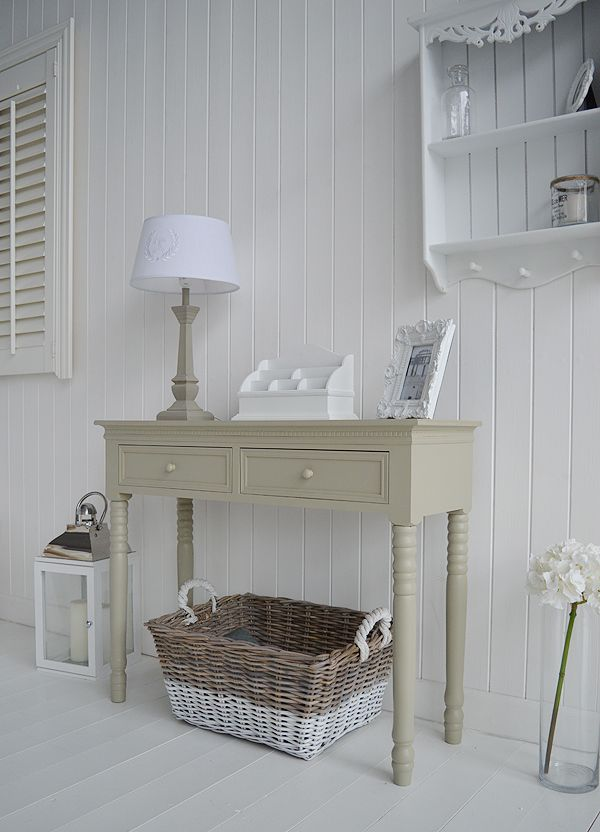 French Grey hallway console table. Ideas for New England style decorating. Hall furniture