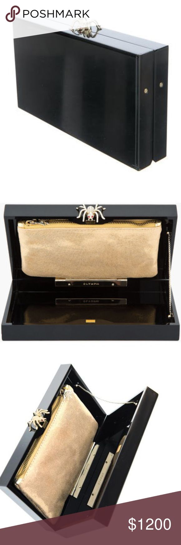Charlotte Olympia Pandora Black Perspex Clutch Charlotte Olympia Pandora Black Perspex Clutch Rhinestone Spider Magnetic Closure Gold Fabric Pouch Insert Goldstone Hardware Come With Box Duster and Care Card. Measures 7.5 x 4.25 x 1.5 Made in Italy Charlotte Olympia Bags Clutches & Wristlets