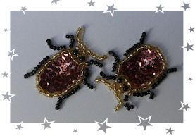 Pair of Sequin Beetle Motis Daisys Garden Embroidery is an Online Store supplying to the hand embroiderer and crafter.