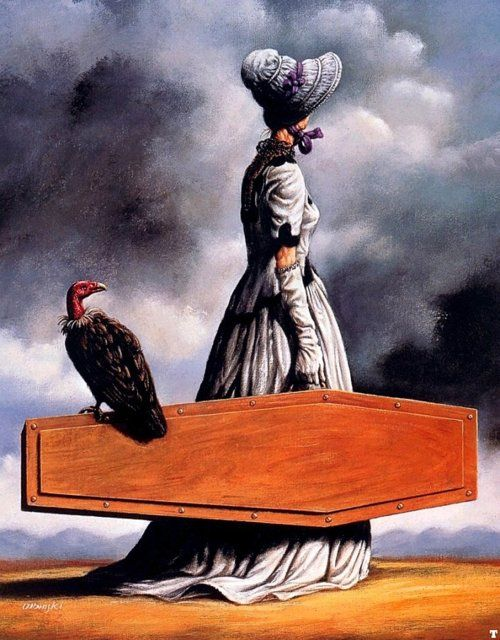 The Visit of the Old Lady - Rafal Olbinski (colour version):