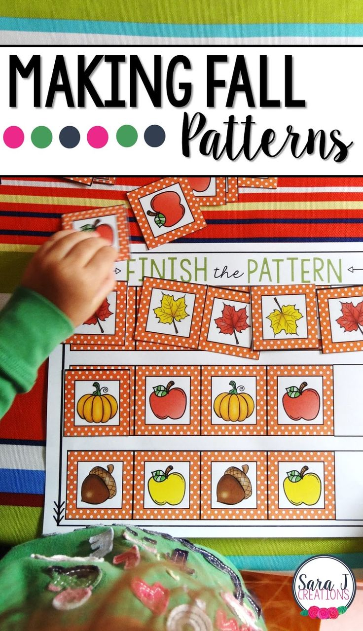 Perfect preschool math pattern activity to do in the fall