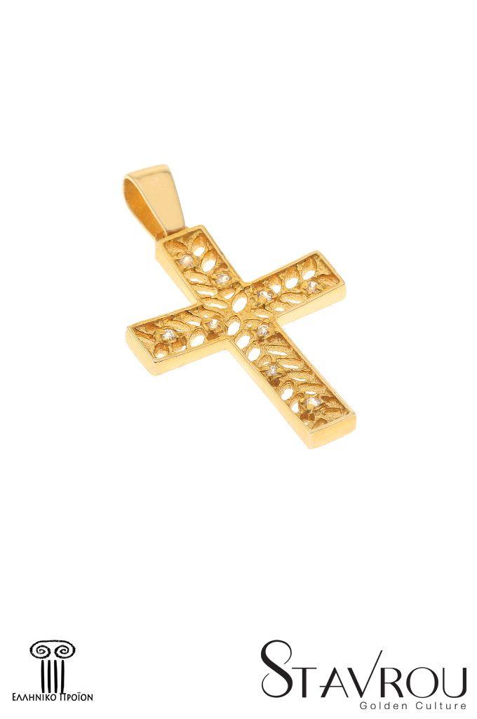 Γυναικείος σταυρός βάπτισης σε χρυσό Κ14 με ζιργκόν. Διαστάσεις (πλάτος, ύψος, πάχος) : 19.00 x 32.00 mm Δυνατότητα επιλογής σε λευκό χρυσό Κ14 #σταυροί_βάπτισης #βαπτιστικοί_σταυροί #χειροποίητα_κοσμήματα #γυναικείοι_σταυροί  #σταυροί #σταυροί_με_ζιργκόν