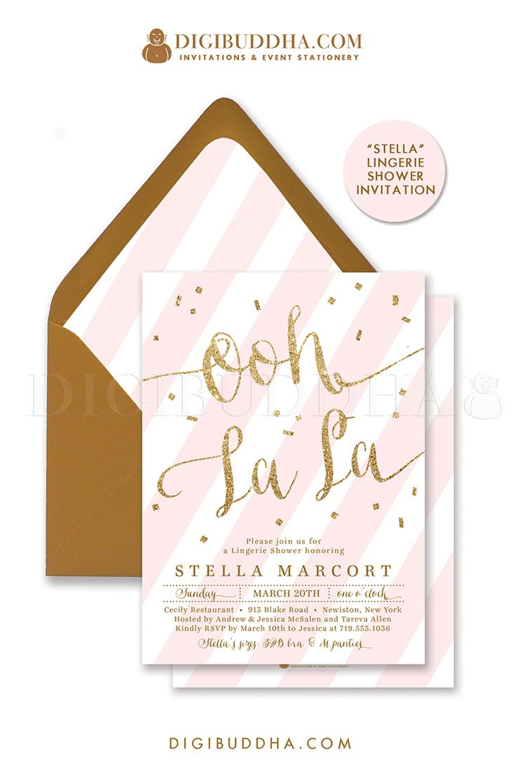 Ooh La La! Elegant pink and gold glitter lingerie shower invitation with blush pink stripes and gold glitter lettering and gold confetti details. Choose from ready made printed invitations with envelopes or printable brunch and bubbly invitations. Gold shimmer envelopes and matching envelope liners also available. digibuddha.com