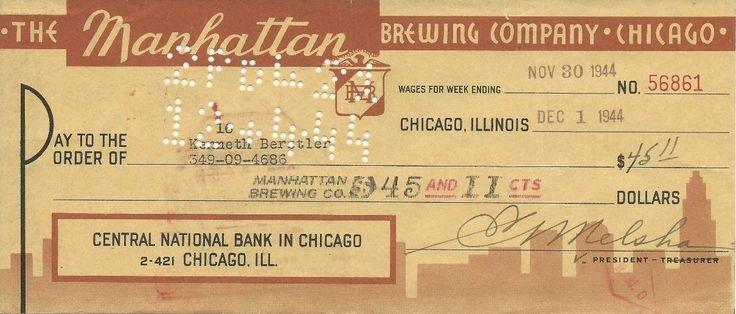 Al Capone Manhattan Brewery Company Check Frank Nitti | eBay