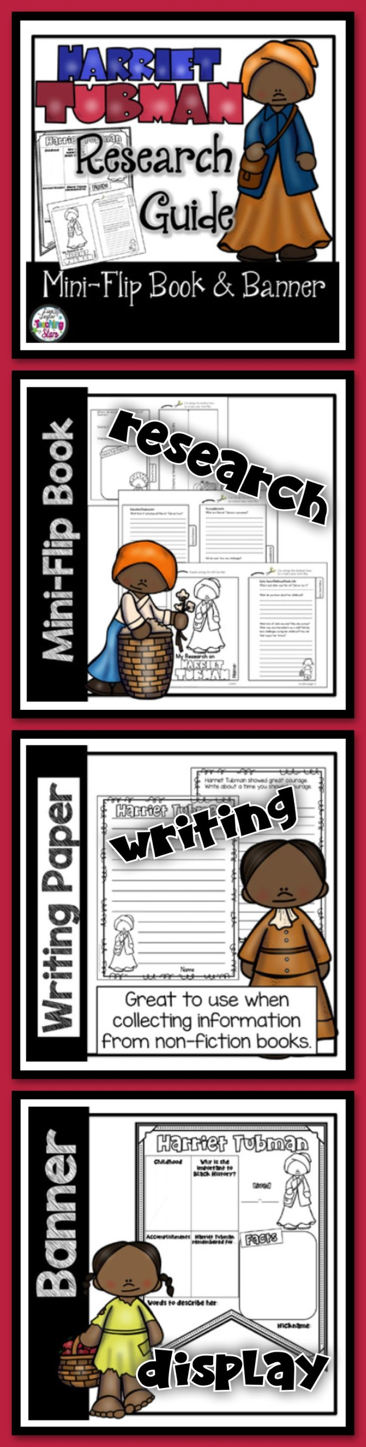 Harriet Tubman Research Guides includes Mini-Book, Lapbook, Banner, Writing Paper, & Interactive Journal Resources that will provide materials students use while researching. Students will collect information on Harriet Tubman and either record their research in their mini-books, Social Studies Interactive Notebook, or Lapbook while they read biographies and other informational text. These resources were designed for grades 3rd-5th to use to organize students' research about Harriet Tubman.
