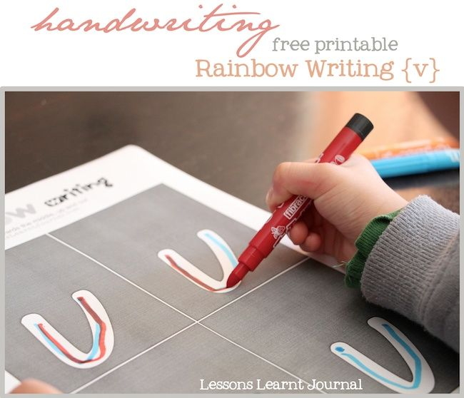Great for kids who are at that stage where they're learning to write their letters. Free handwriting printable for rainbow writing {v}; other letters available too. Encourages kinesthetic awareness and memory, which is required for good handwriting.