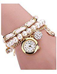 Reloj de pulsera de diamantes de imitacion - SODIAL(R)Reloj de pulsera de diamantes de imitacion de patron de ancla para mujer blanco