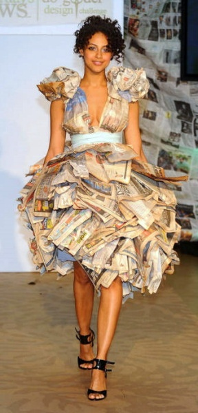 how to make a recycled dress out of newspaper