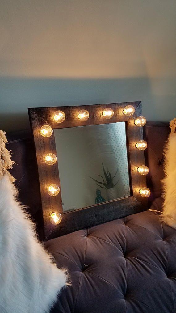 Black Wood Rustic Light Up Makeup Vanity Mirror by marqueemarket