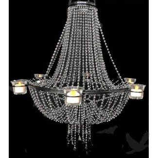 6 Candle Empire Chandelier - Steel Ball Chain-outdoor reception over dance floor