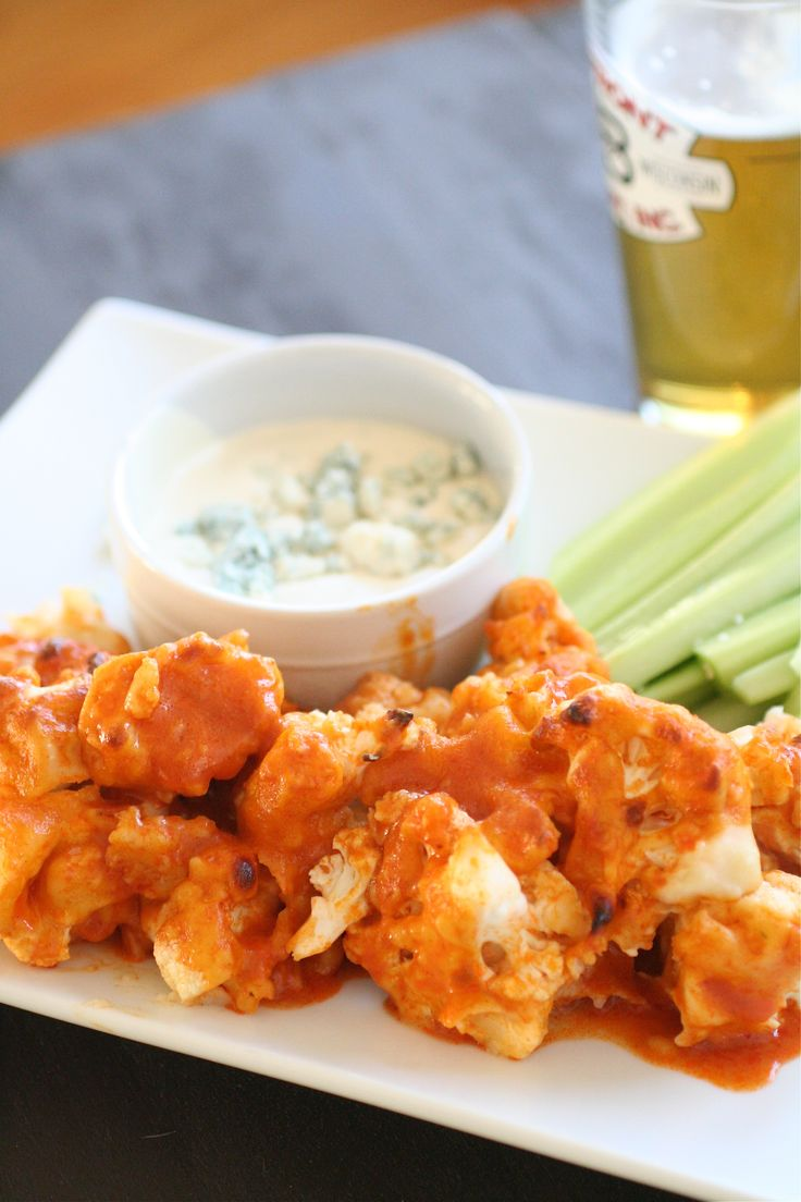 buffalo cauliflower.  Great for lunch the next day.  I like it better than chicken.  Any hotwing suace would do, but Franks good and hot.