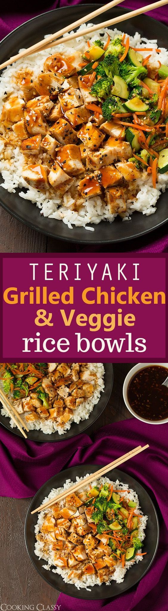 Teriyaki Grilled Chicken and Veggie Rice Bowls  hearty healthy and totally delicious! The easy teriyaki sauce recipe is perfect!