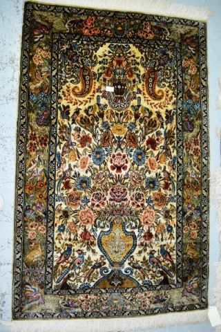 Bargain Hunt Auctions - on 21-2-2015 - Lot 213 - Vintage Persian silk rug, hand knotted -160 cms X 95 cms - ($400 - $600).