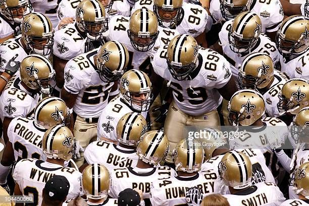 Drew Brees Of The New Orleans Saints Leads His Team In A
