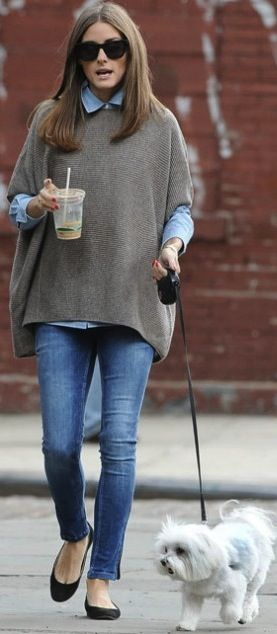 I have a sweater similar style and color ...never thought to put white button down under it - LOVE THIS LOOK denim shirt, poncho, skinny jeans, ballet pumps