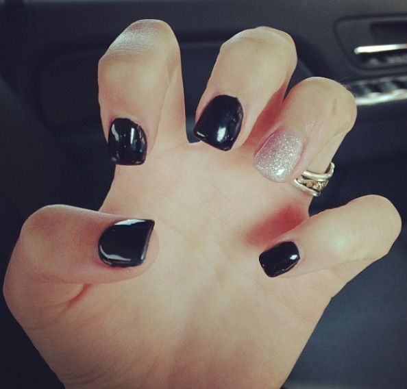 black painted acrylic nails with silver sparkle ring finger - Google Search