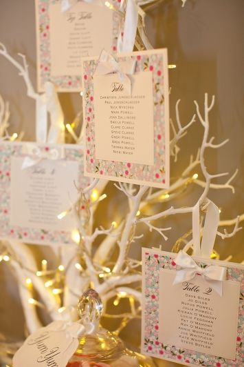 White Branch Tree (shown with Pin Lights and Table Plan Cards (see Borrowed Blue Press)
