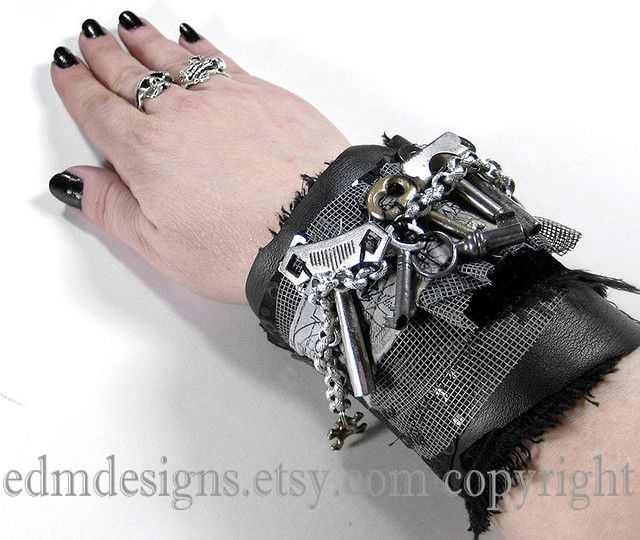 https://flic.kr/p/7MoASu | textile cuff, mixed media wearable art, industrial wrist cuff, steampunk wrist cuff