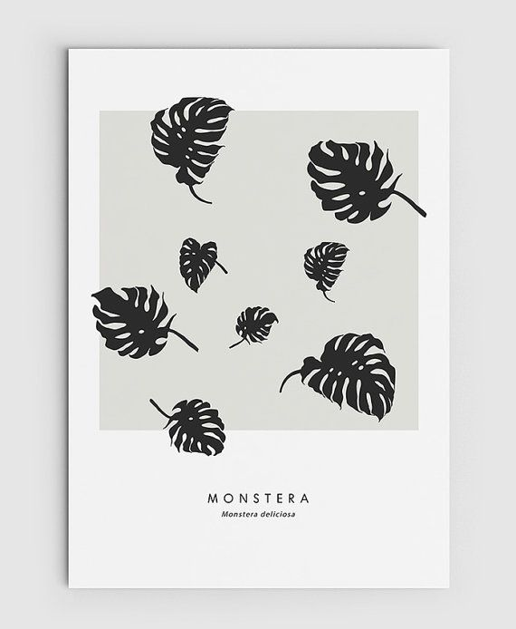 Monstera Cheese Plant Leaf  PRINTABLE FILE. Tropical by ILKADesign