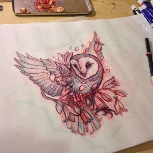 Mitch Allenden owl tattoo design