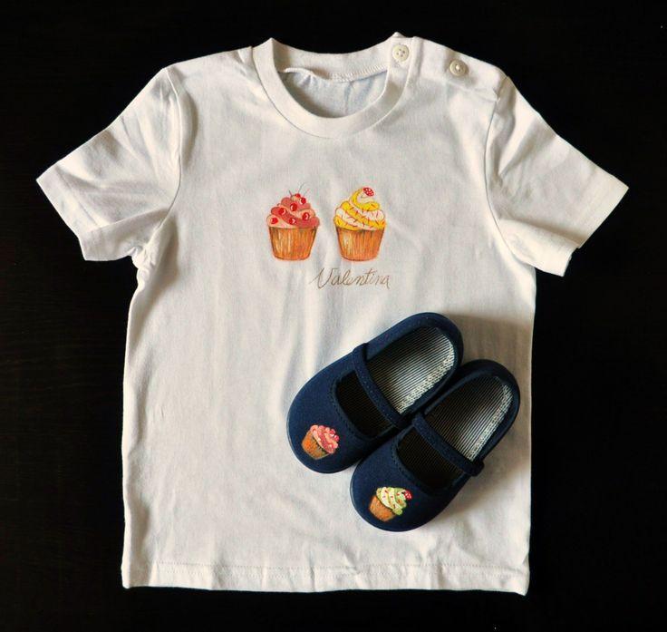 """Camiseta """"Cupcake""""+nombre  Zapatillas """"Cupacake"""""""