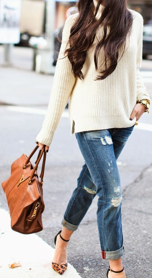 Distressed jeans, oversized sweater, heels