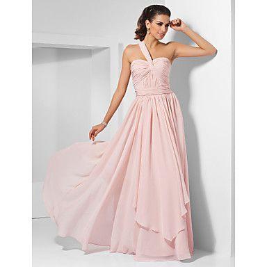 A-line One Shoulder Floor-length Chiffon Evening/Prom Dress  – GBP £ 49.69