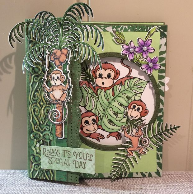 Monkey around from Heartfelt Crations. Folding card with tutorial.