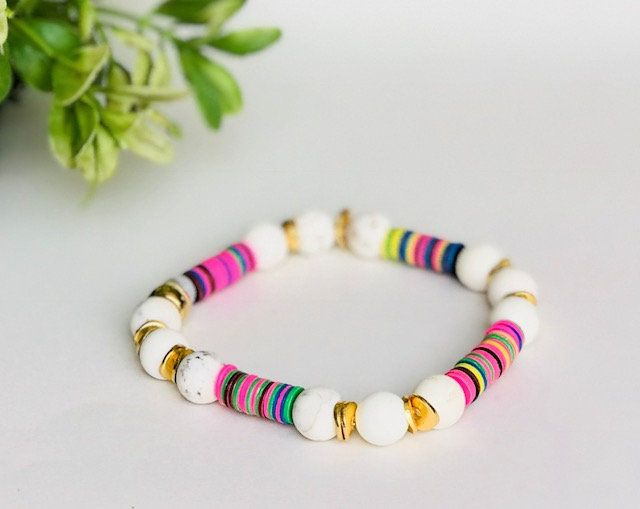 6mm Multi Color Disc Bracelet With 8mm Tan Turquoise And