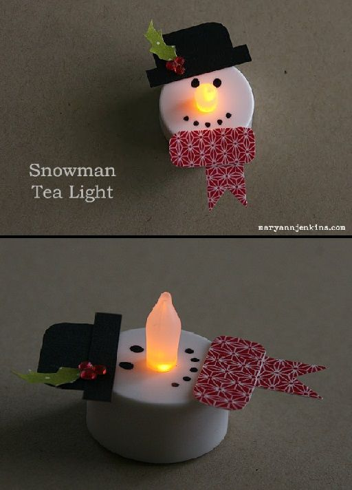 "Snowman Tea Lights ~ Quote the blogger:  ""I just used cardstock for the hat and holly leaves, a few rhinestones for the berries, and washi tape (on a piece of white cardstock) for his scarf.  The battery operated tea lights can be found almost anywhere, and are fairly inexpensive."""