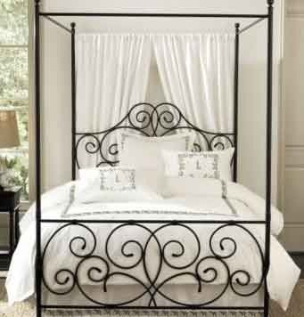 Simple upgrade, add sheer curtains to the back of a 4 poster bed to add a touch of elegance. Love