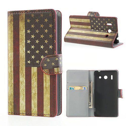Amerikaanse vlag booktype hoesje voor Huawei Ascend G510