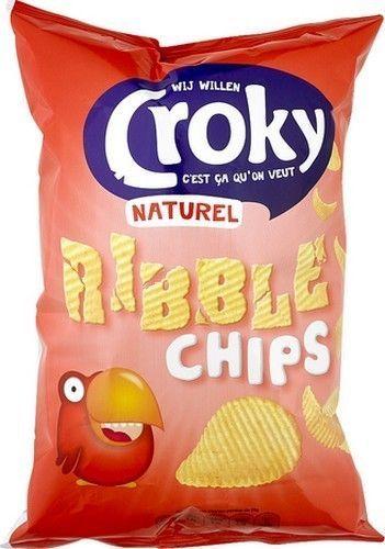 CROKY Ribble chips naturel 150gr  Référence: CHP1047 #CROKY Ribble chips naturel sont des chips de pommes de terre fabriqué avec 35% d'huile de tournesol. Ils sont délicieux en apéritif Sur www.chockies.net