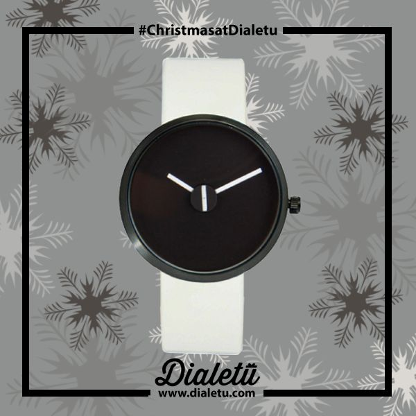 """This model, Sometimes Black, has the theme """"Sometimes it's better to stop thinking about the time"""".   Sometimes Black 36MM (WHT LEATHER)"""