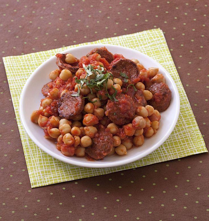 Poêlées de Pois Chiches au Chorizo et Tomates