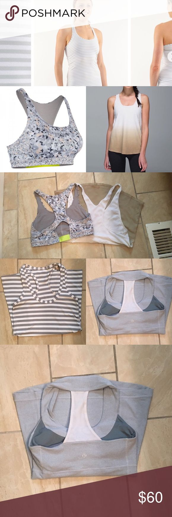 Lululemon 3 top 1 sports bra bundle✨ Striped top- practically new size 4 Worn X1, hombre top-perfect condition size 4, grey mesh racerback good condition and comes with inserts size 4, sports bra great condition size 2 lululemon athletica Tops Tank Tops