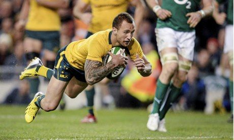 Australia's Quade Cooper scores his side's third try against Ireland in the autumn international at the Aviva Stadium. Photograph: Stephen M...