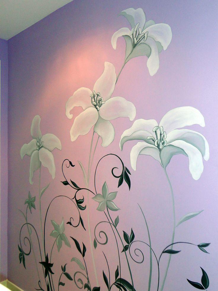 flores pintadas a mano alzada en pared de una cocina Pared Murales