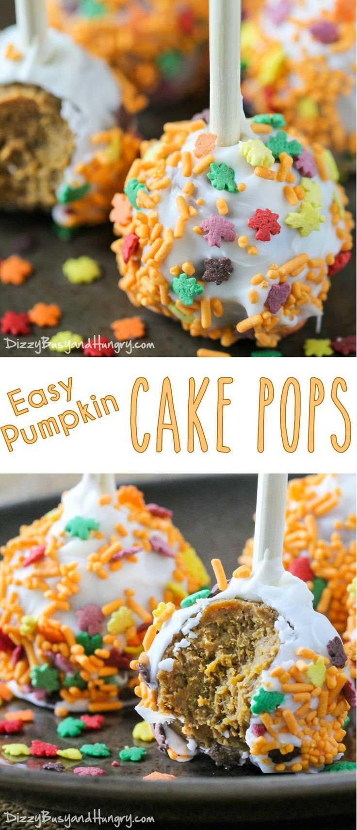 Easy Pumpkin Cake Pops   DizzyBusyandHungry.com - These festive pumpkin spice cake pops are moist and delicious and so fun to eat!