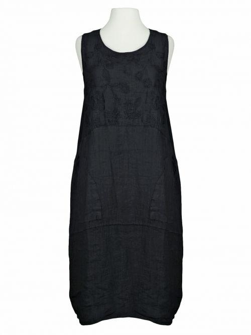 Damen Kleid Leinen bestickt, schwarz von Spaziodonna bei www.meinkleidchen.de