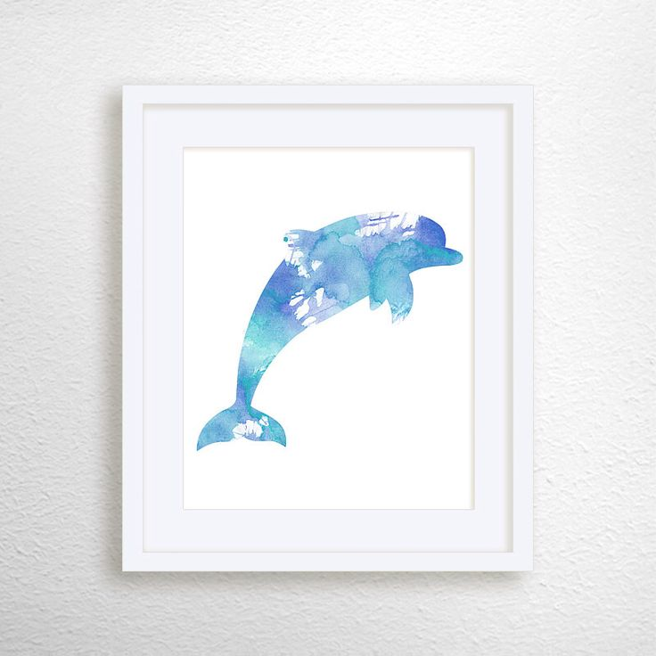 dolphin painting dolphin art print nautical home decor 3d ocean dolphins home decor removable wall sticker decal