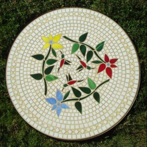 hummingbirds mosaic glass table